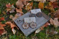 Fabric+Wood earrings