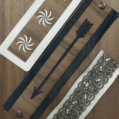 Leather+Wood, Denim+Wood, Leather cuffs